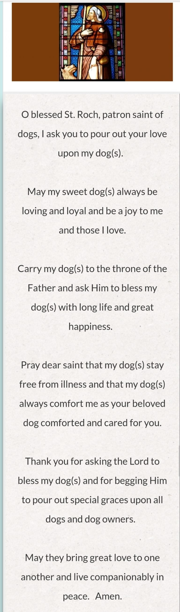 Prayer of Saint Roque