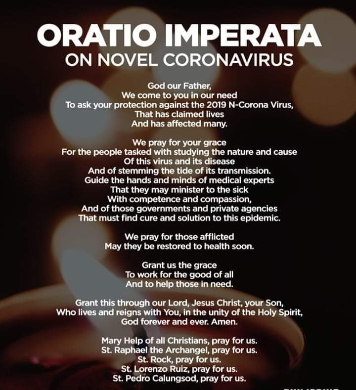 Prayer: Oratio Imperata on Novel Coronavirus