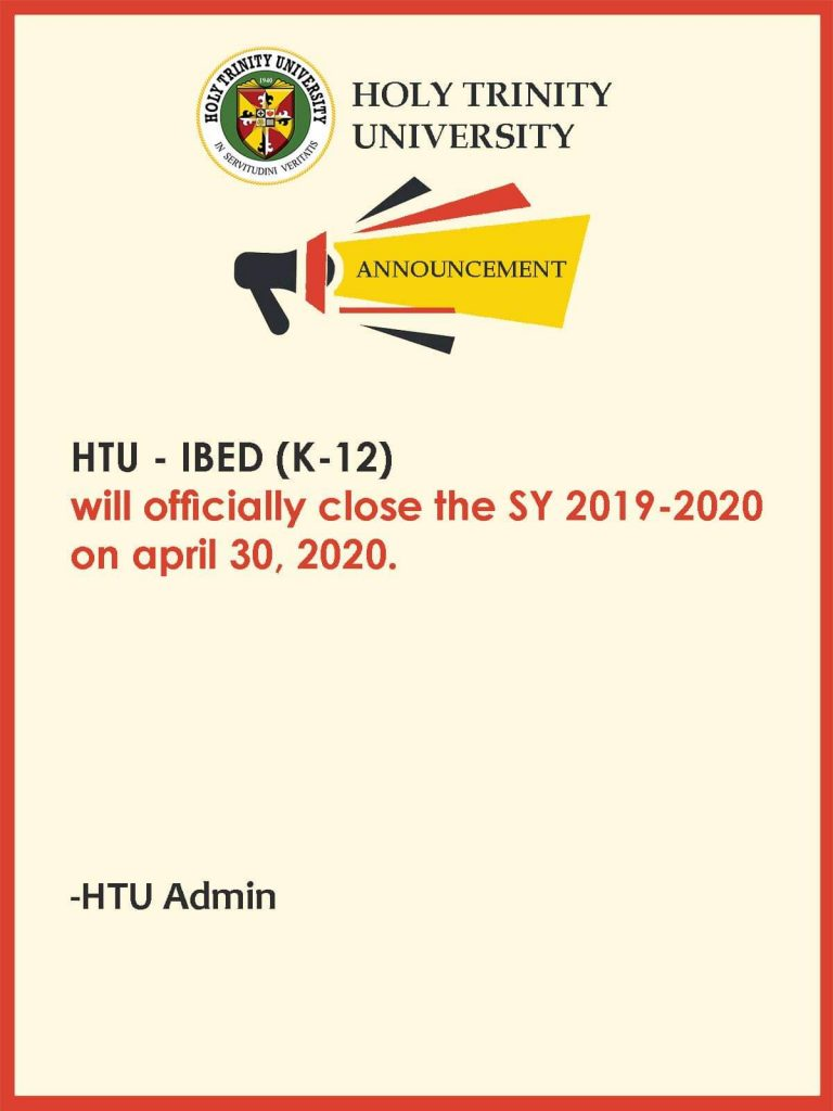 Closing of Classes in Integrated Basic Education Department SY 2019-2020