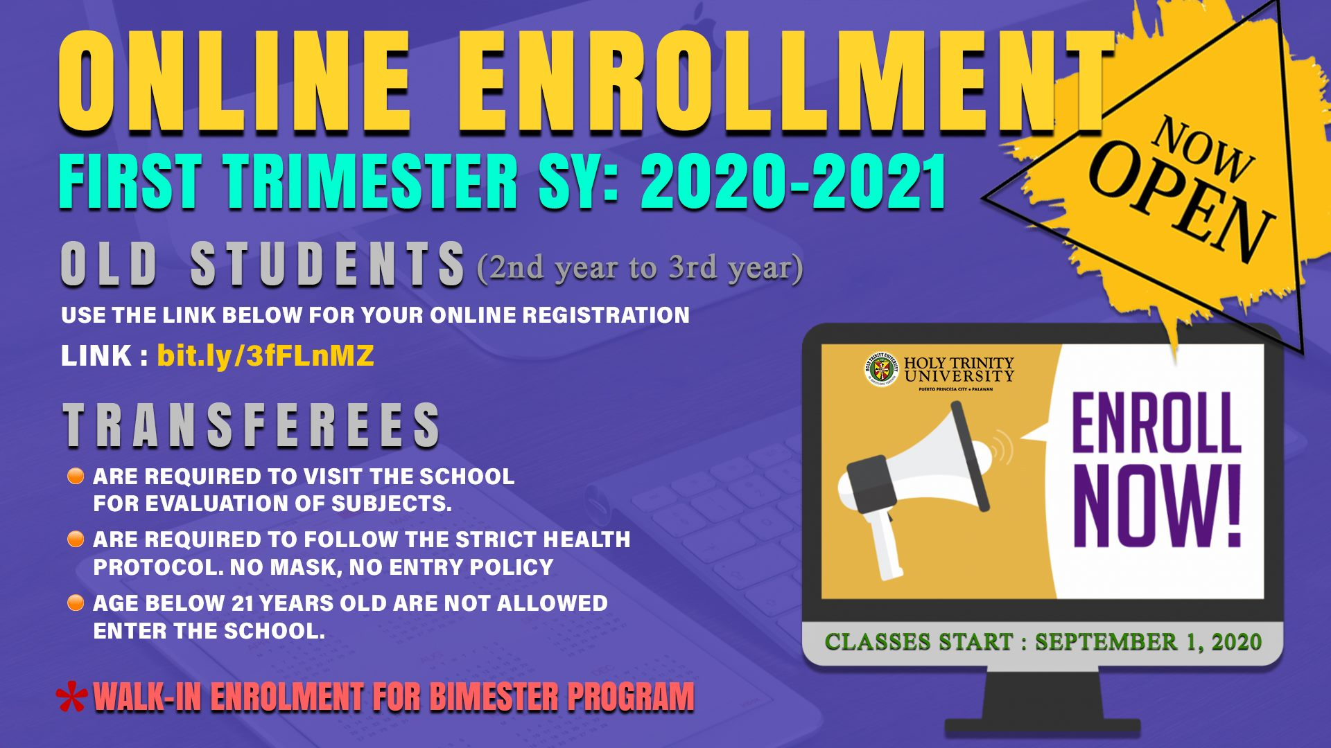 Old Students from [2nd year – 3rd year] (Trimester Only)